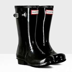 Hunter Kids Gloss Wellies Black