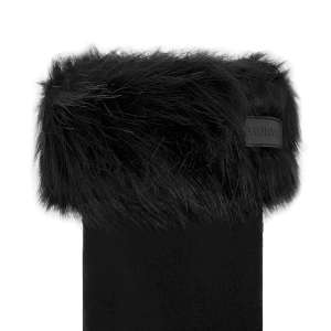 Hunter Faux Fur Cuff Boot Socks Black