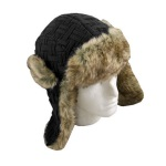 Ozzie Mens Knitted Trapper Hat Black