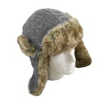 Ozzie Mens Knitted Trapper Hat Grey
