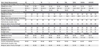 Men's Regatta Size Chart
